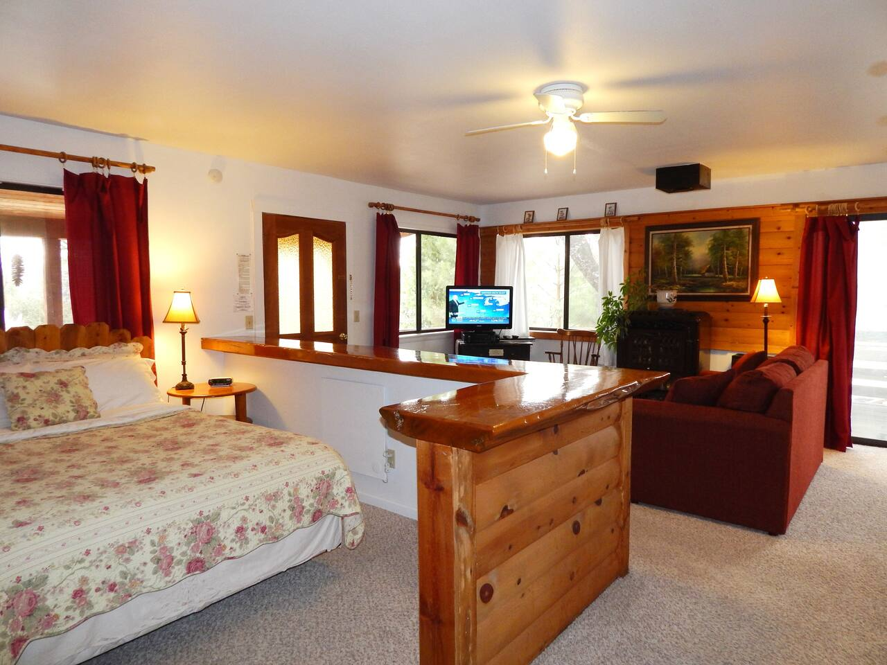 Studio suite with queen bed & sofa bed. Lots of natural light & privacy!