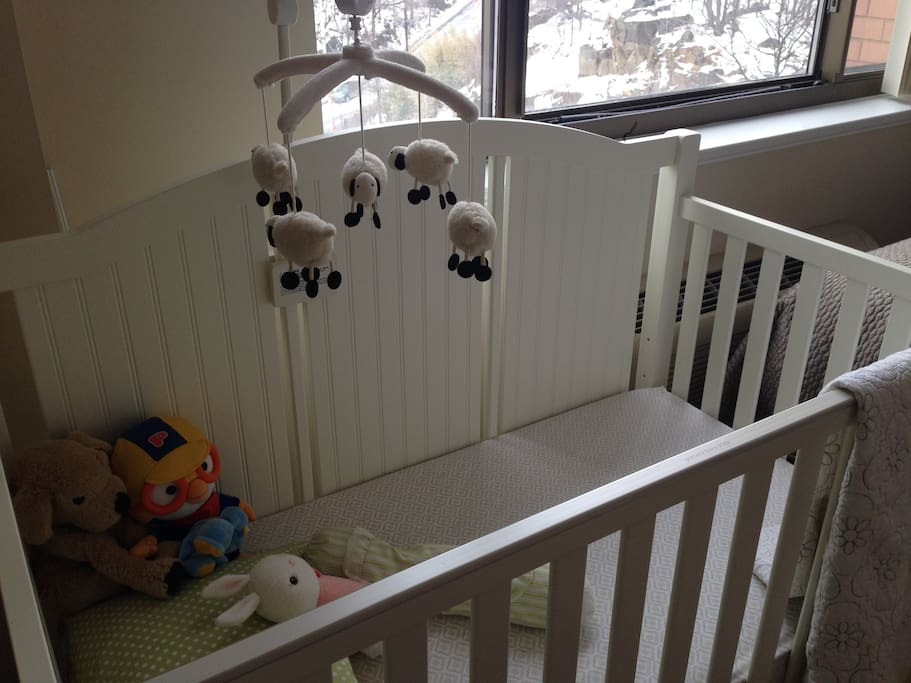 Comfy rarely used crib since our daughter prefers the king bed