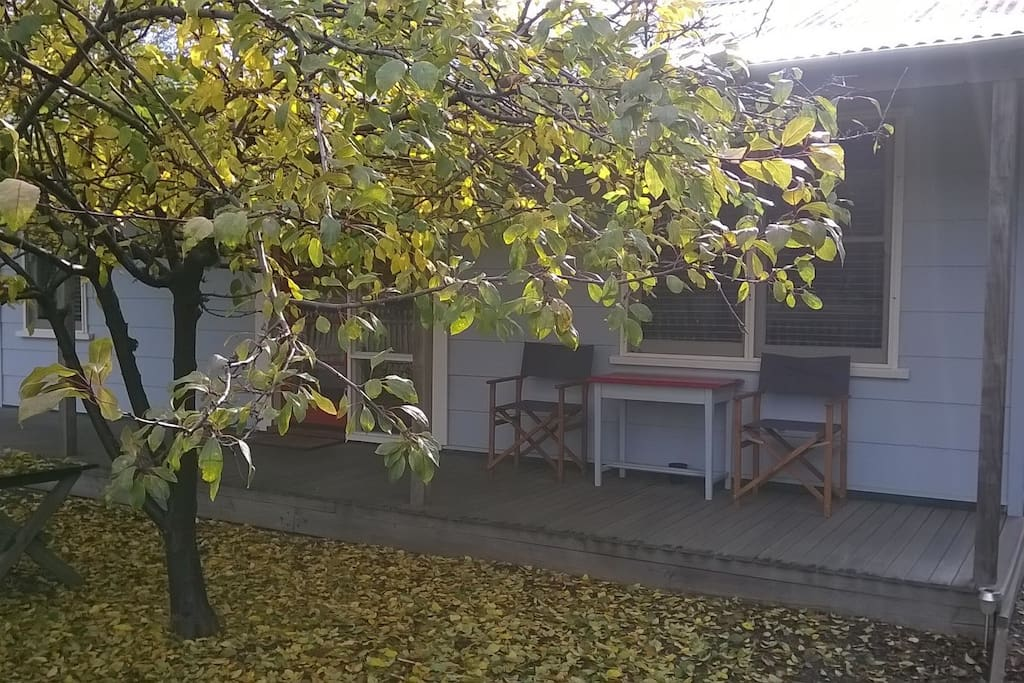 Front verandah in the shade of the crabapple trees