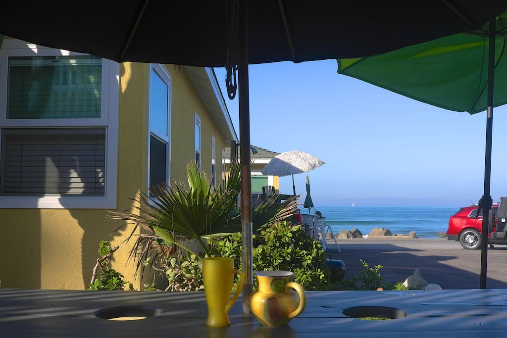 Ocean View dining at our family size picnic table on the patio