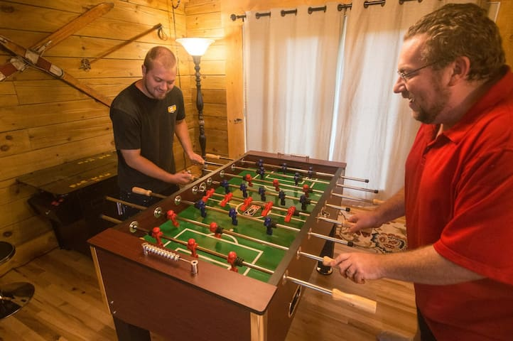 game room - foosball & tabletop arcade with 60 vintage games