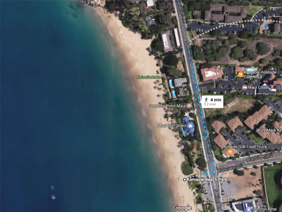 2 min walk to Charlie Young Beach, 4 min walk to the famous Kamaole Beach, 6 min walk to The Cove Beach (surf school directly across the street if you'd like to take lessons!)