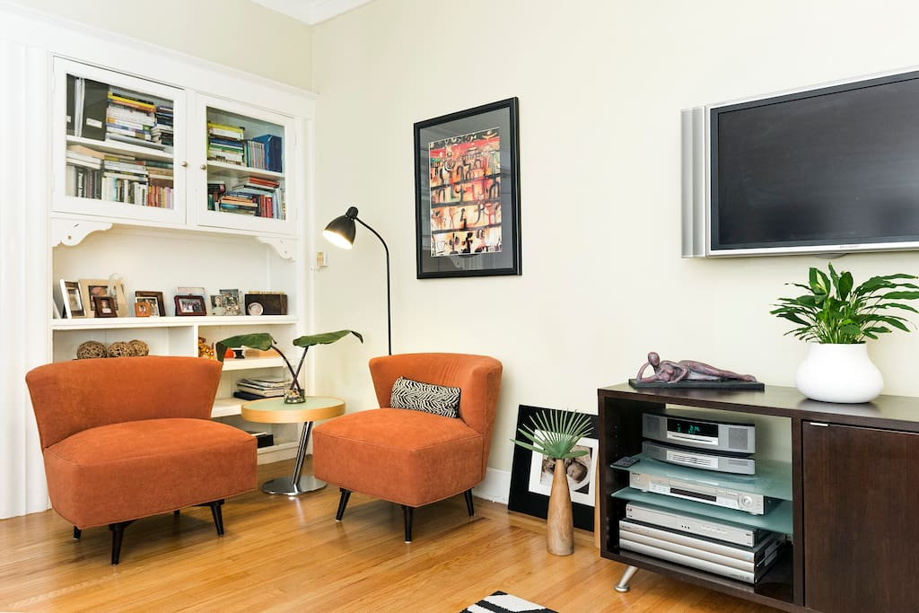 built in period bookcases add charm