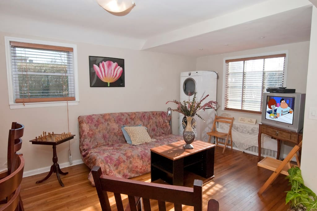 (Washer/Dryer Not Available for Use) Living room area - Futon for additional guests for larger groups (Washer/Dryer Not Available for Use)