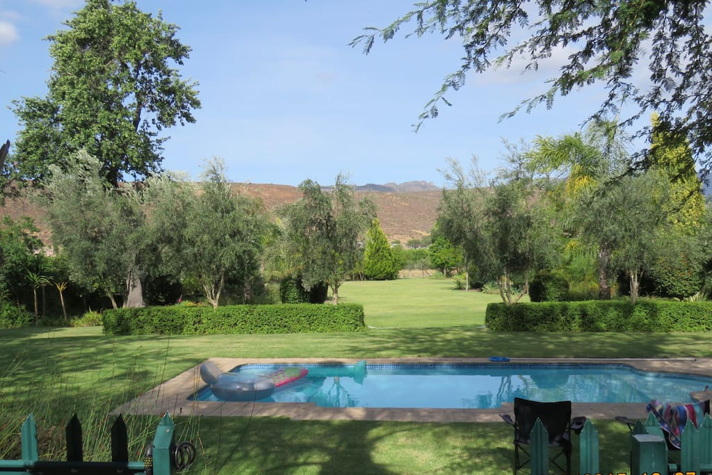 View of the pool and Garden. Please note that We are in the middle of a drought in and around Cape Town, so the garden may look dry and less green.