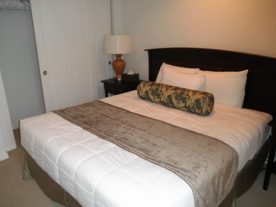 Queen size bed in the Master bedroom plus pull out sofa in living room