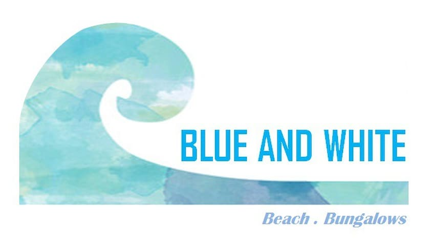 Blue and white beach bungalows.