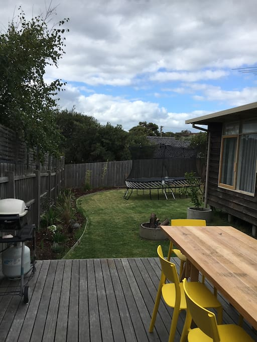Large deck with bbq, huge yard with trampoline