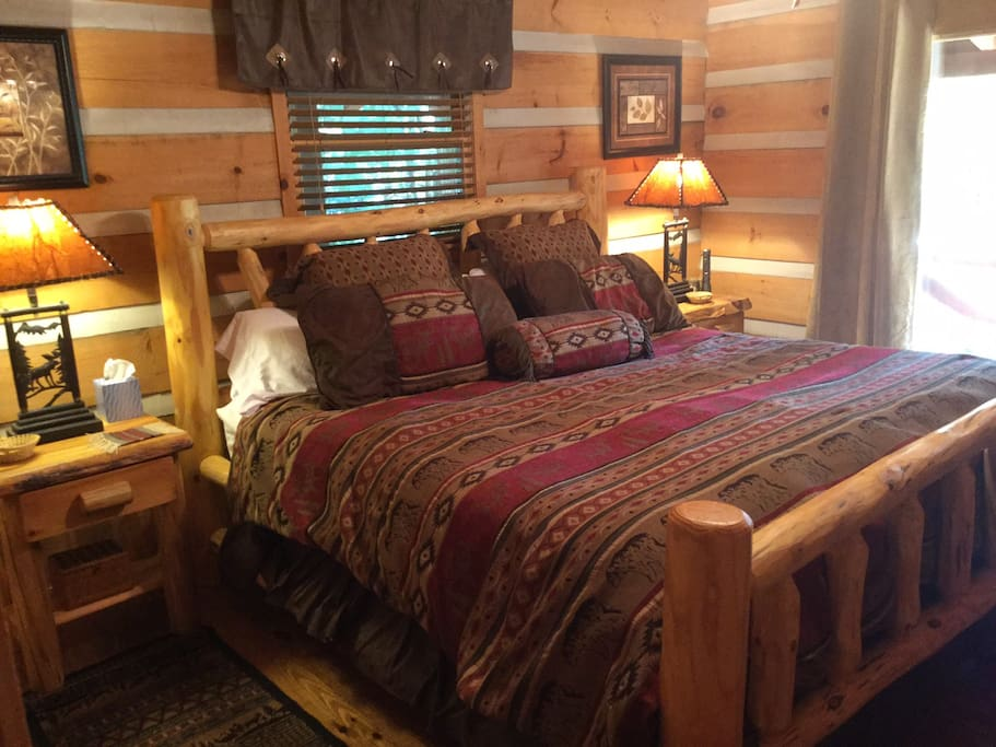 Master bedroom includes King bed, large closet and walk-out to mid-level deck.