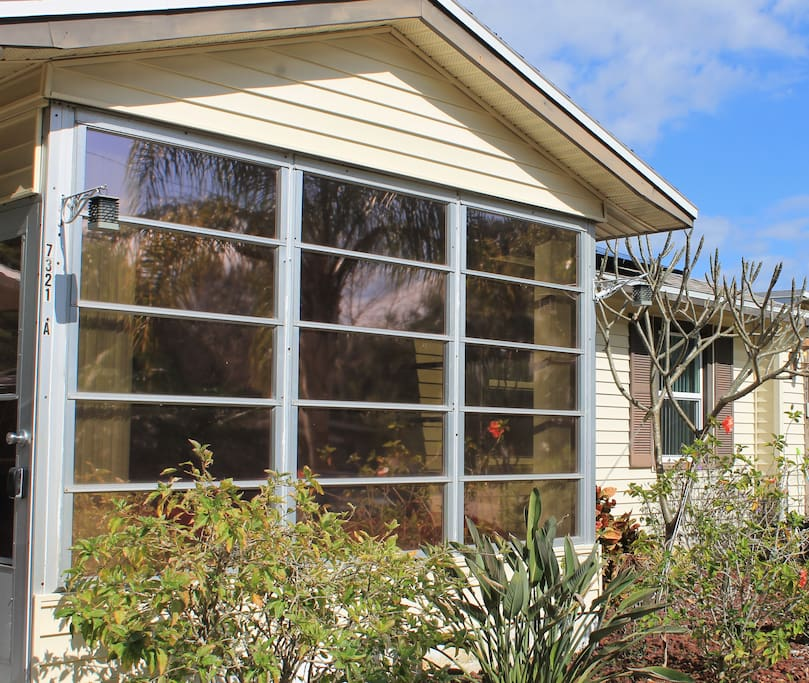 Sunroom has tinted windows for your privacy.