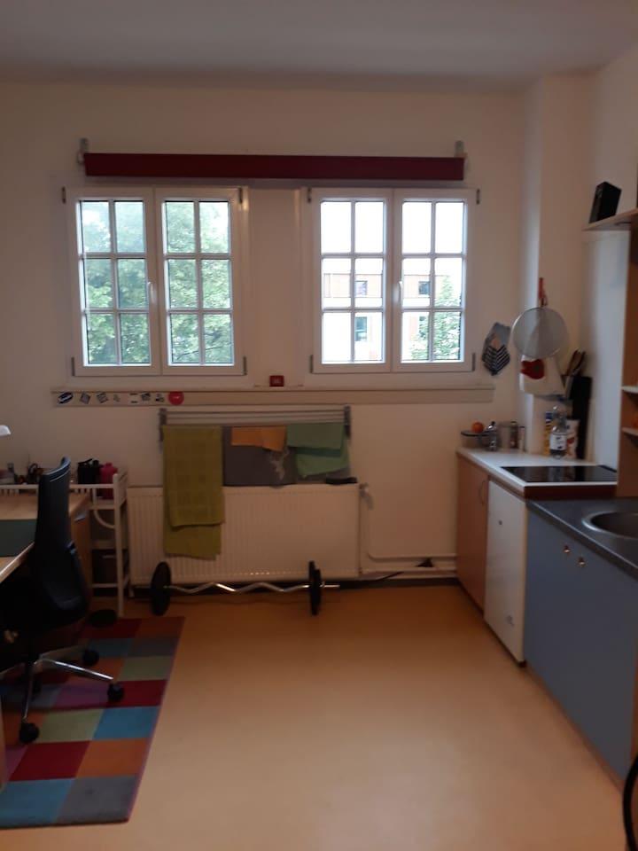 Küchenschrank mit Herd, Waschebecken und Kühlschrank, Wäscheleine und Schreibtisch
