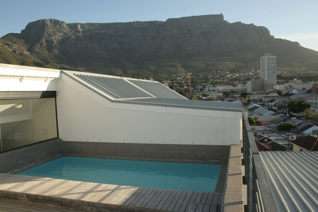Rooftop pool area looking across to Table Mountain