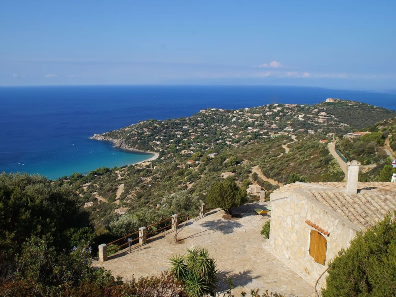 Unique view from the villa. The location is quite unique in Torre Delle Stelle... Panoramic sea view (180 degres), And away from the dust and the noise of the village and the road
