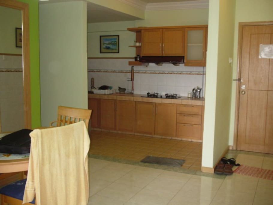 Fully equipped kitchen with cabinets