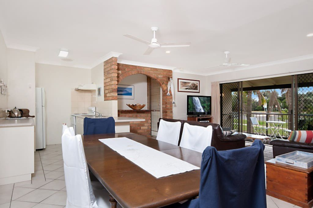 Spacious open plan kitchen, dining and living