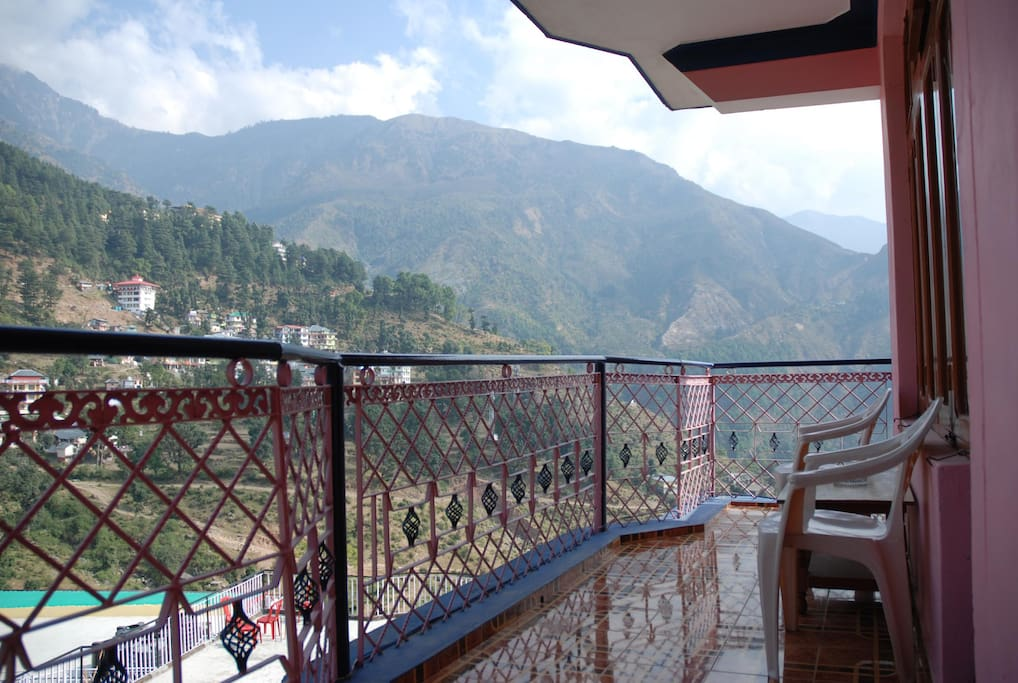 The spacious private balcony outside your room has a fantastic view of the Himalayan peaks.