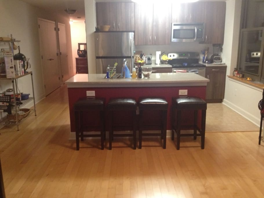 Full size open kitchen with extra seating