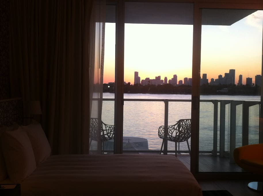 sunset view from the bed