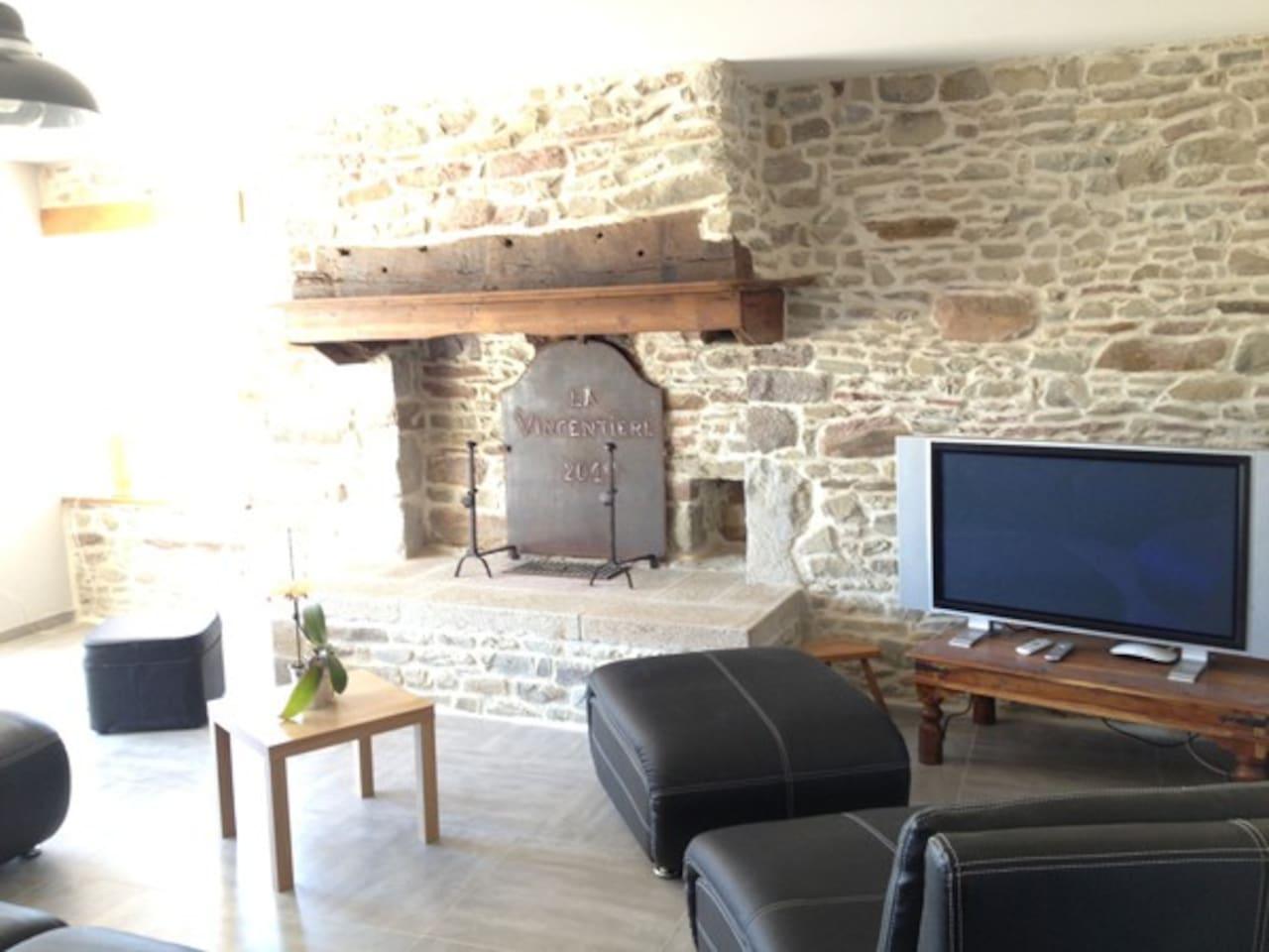 Grand espace de vie avec murs en pierre, authentique cheminée et baie vitrée sur la terrasse
