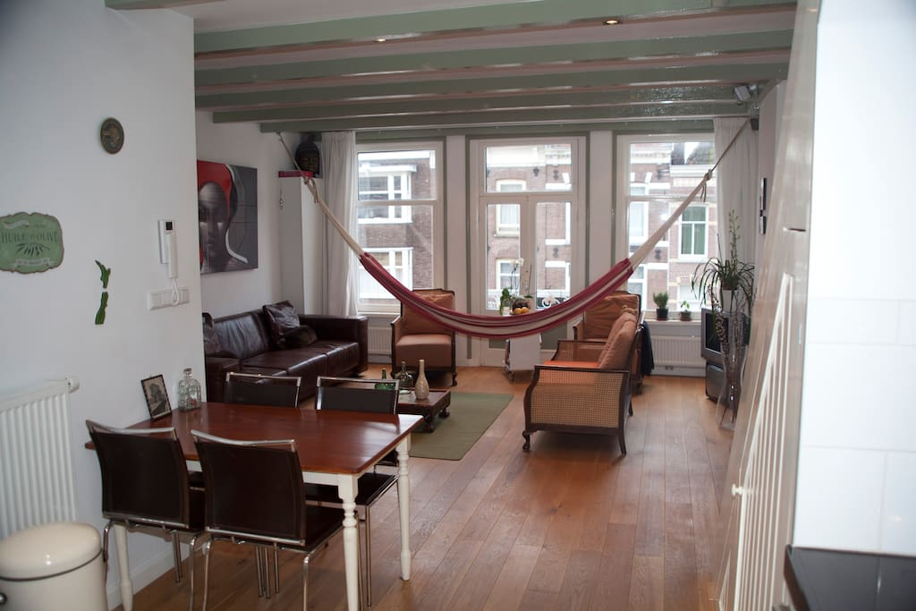 Hammock in the living room; great on a sunny day