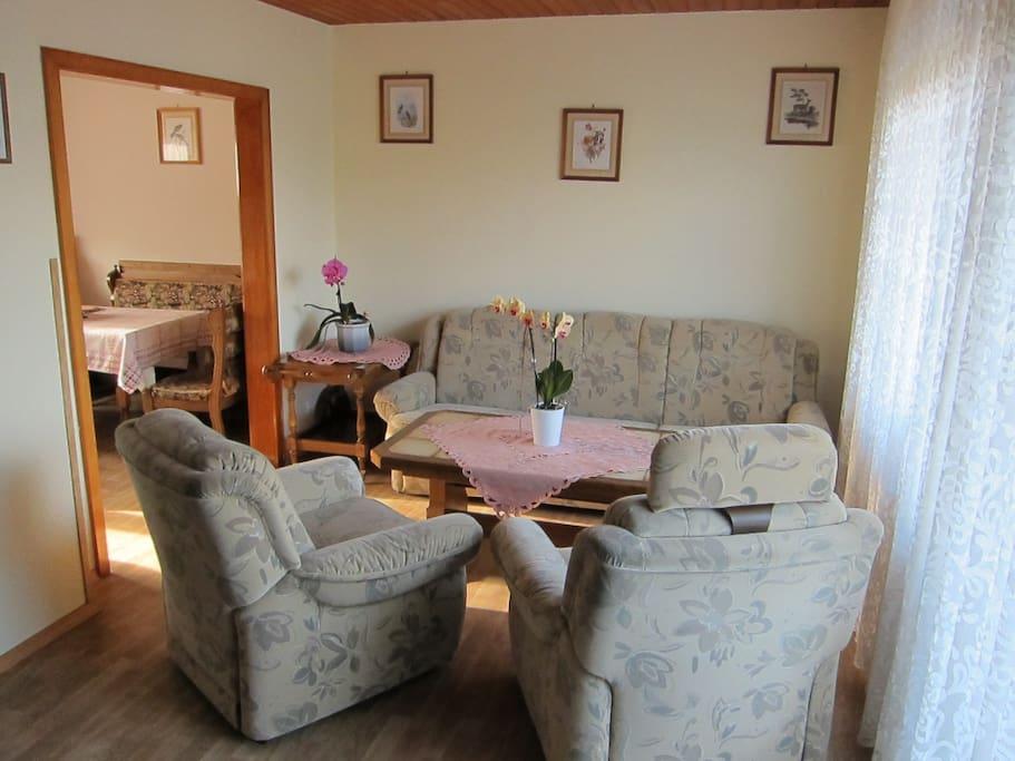 Wohnzimmer mit Couchgarnitur bzw. mit Schlafcouch