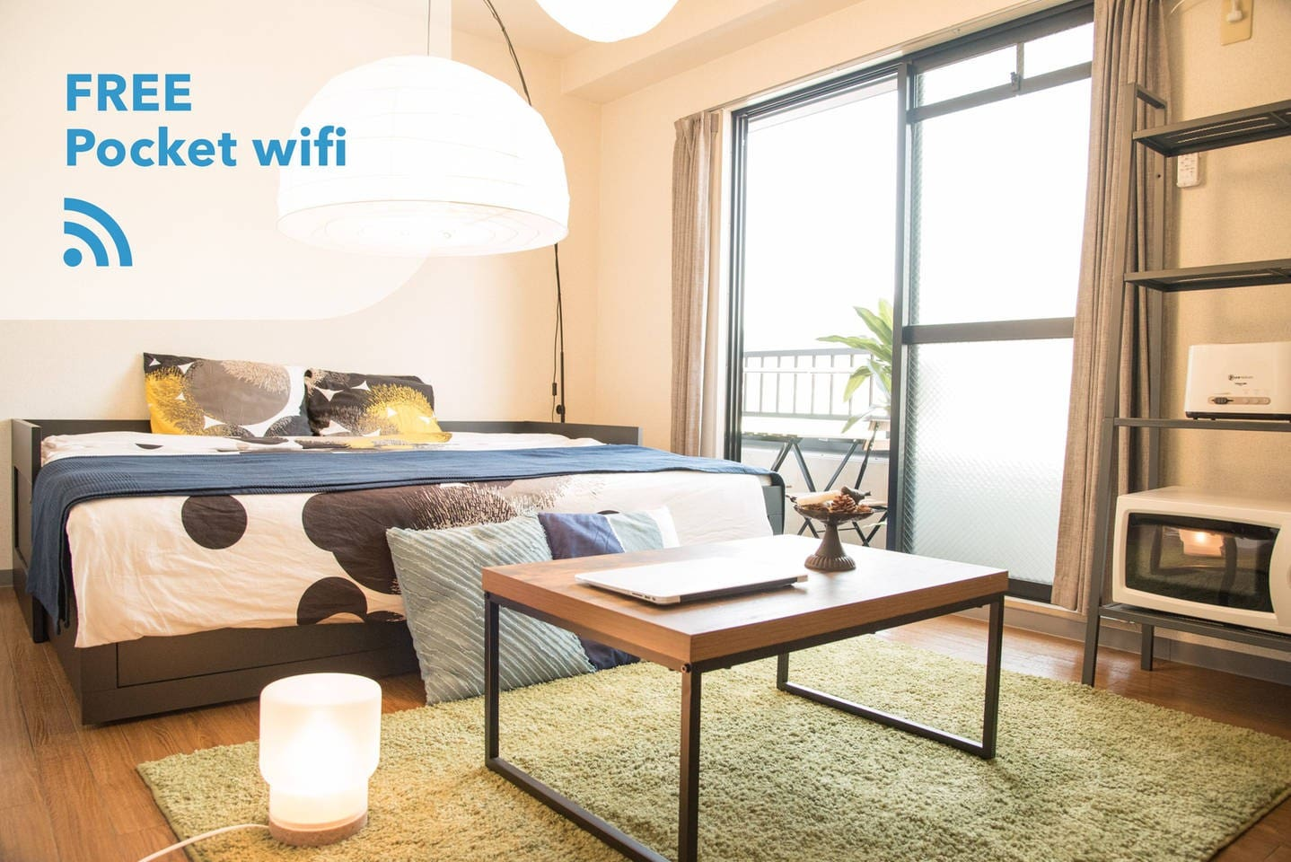 Small cozy room 402 walk 7min to Gion + Pocket wifi. The room size is 15 square meters. There's a double bed(140×200cm) and a mattress(single).