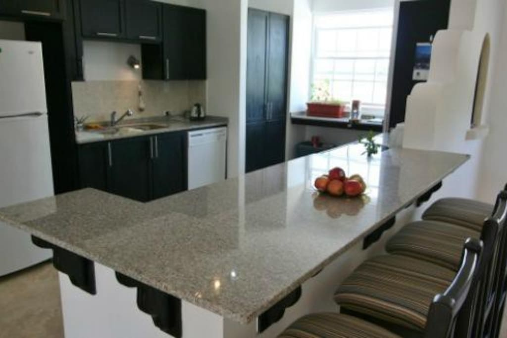 Fully equipped kitchen including granite countertops, dishwasher, microwave, all kitchen utensils and washer/dryer combo.