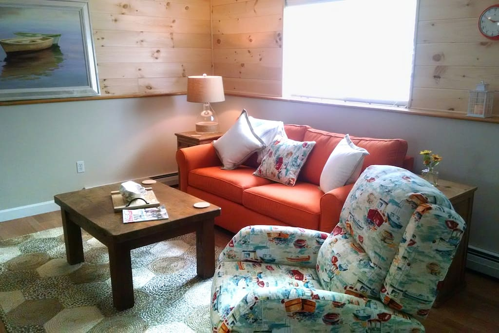 Living Room with Comfy Couch and Lobster Boat Recliner