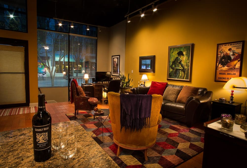 Wine it up in the street-level living room with a view of the vibrant Main Street Mall.