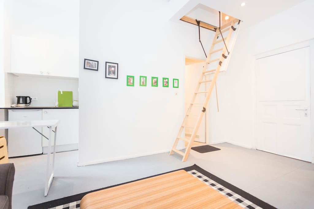 Tea kitchen and stairs to the roof bed