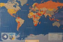This is the big map I maintain showing where I've traveled (black arrows) and where my guests have hailed from (any other colored arrow).  Book now to add your own arrow!