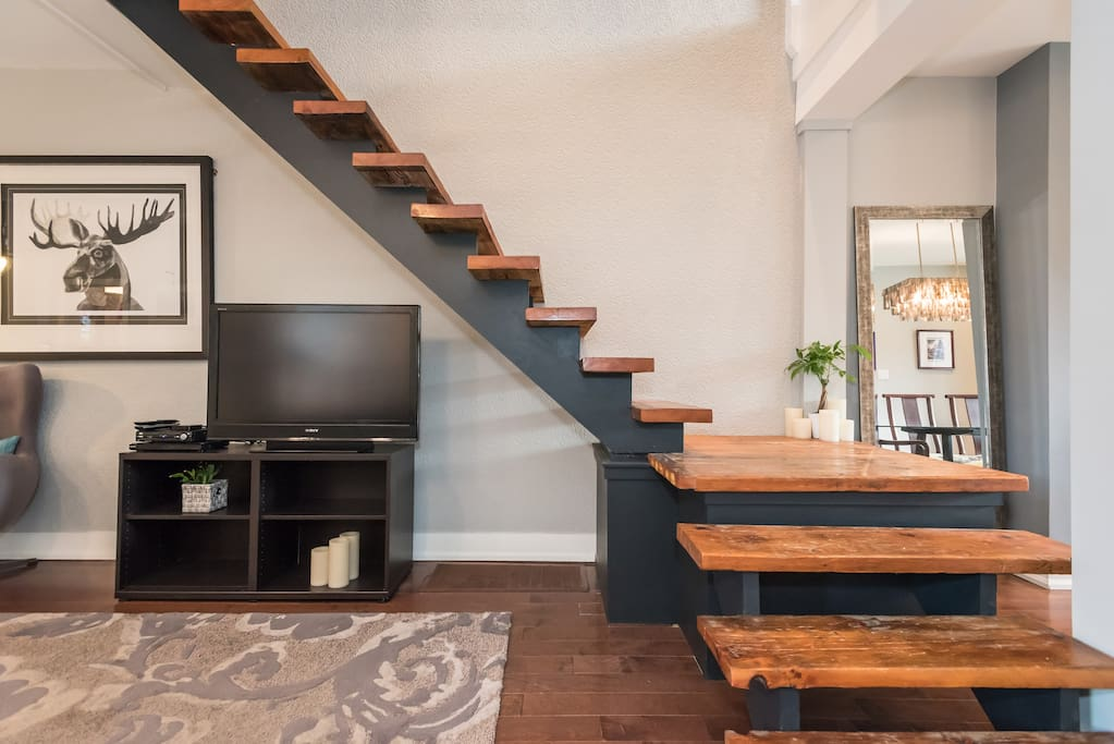 A staircase made from reclaimed wood from a barn built in 1888 in Kleinburg, Ontario.