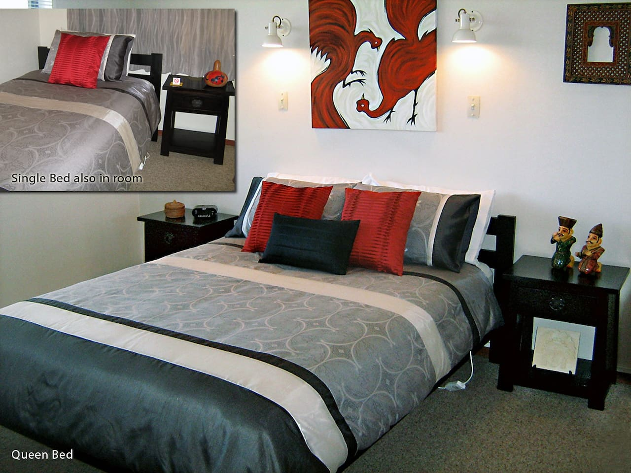 Rotorua City Homestay Room 2 has queen bed and single bed in room.