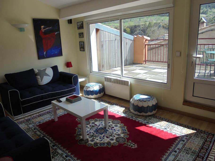 petit salon avec télé donnant sur terrasse avec vue panoramique montagne