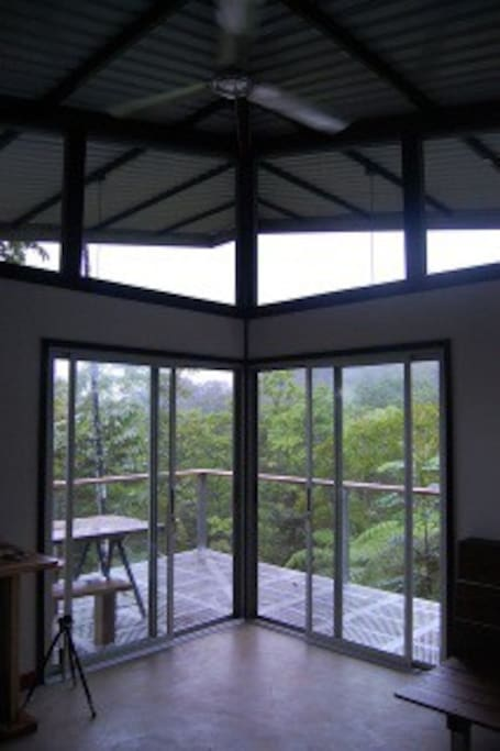 View from the open-concept living area