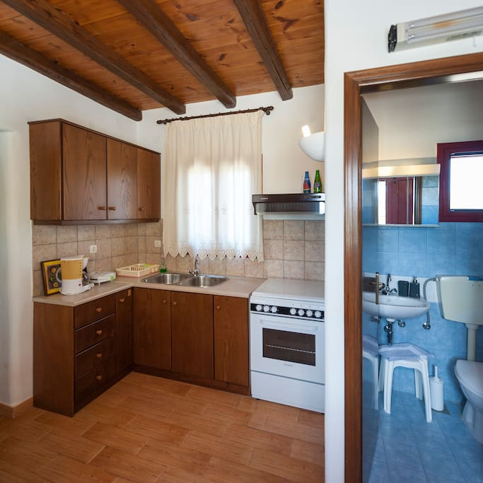 Interior view of the studio, fully equipped kitchen