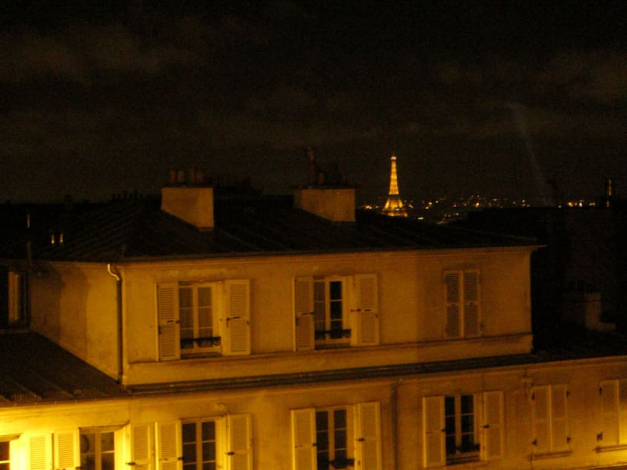 the view from the living room with the Eiffel Tower!