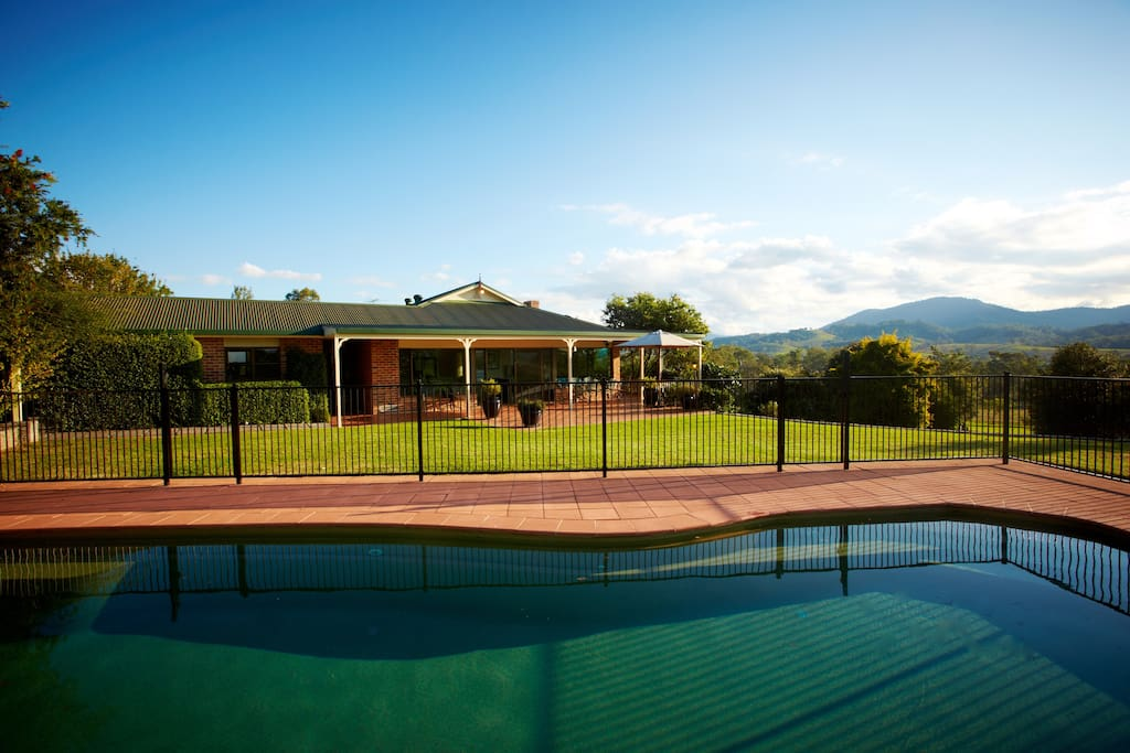 View over salt water pool towards north facing BBQ terrace