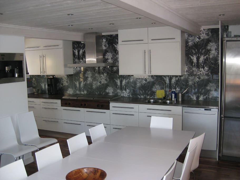 Large and well equipped kitchen with Gaggenau appliances