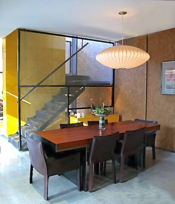 Dining area, looking toward interior, open stair