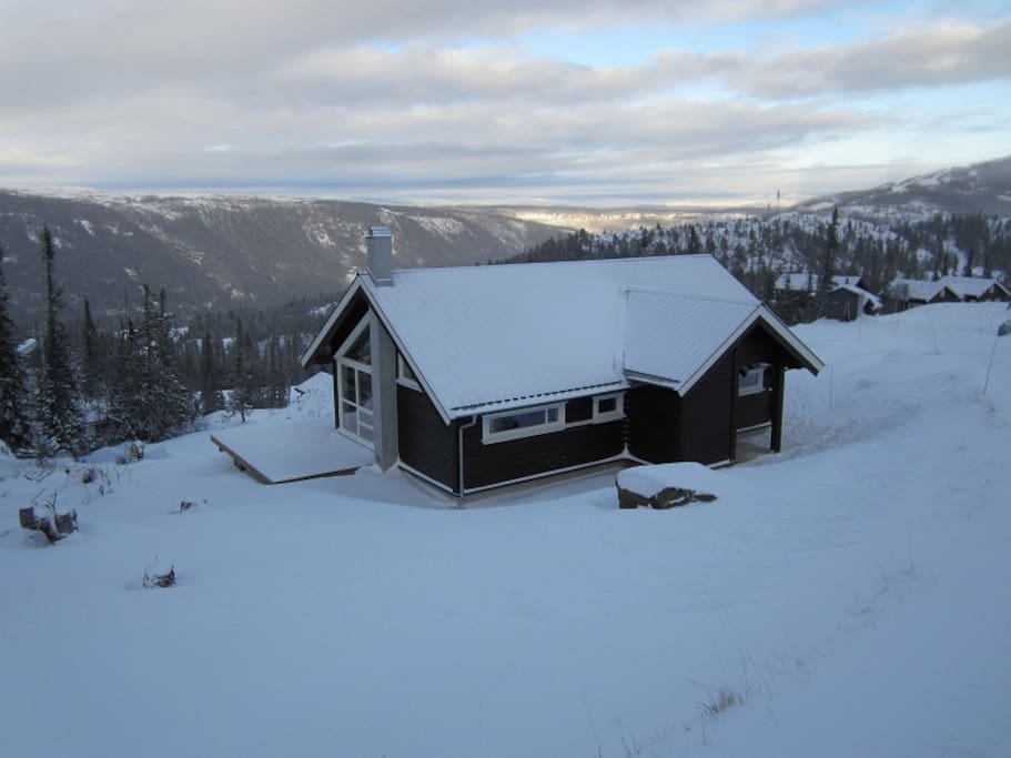 Cabin in winter, great view over the valley