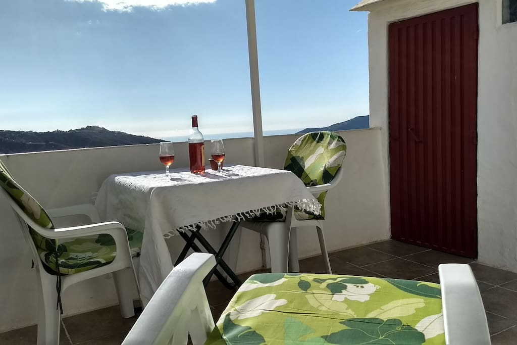 Casa Almachar has a private roof terrace with a view towards the sea