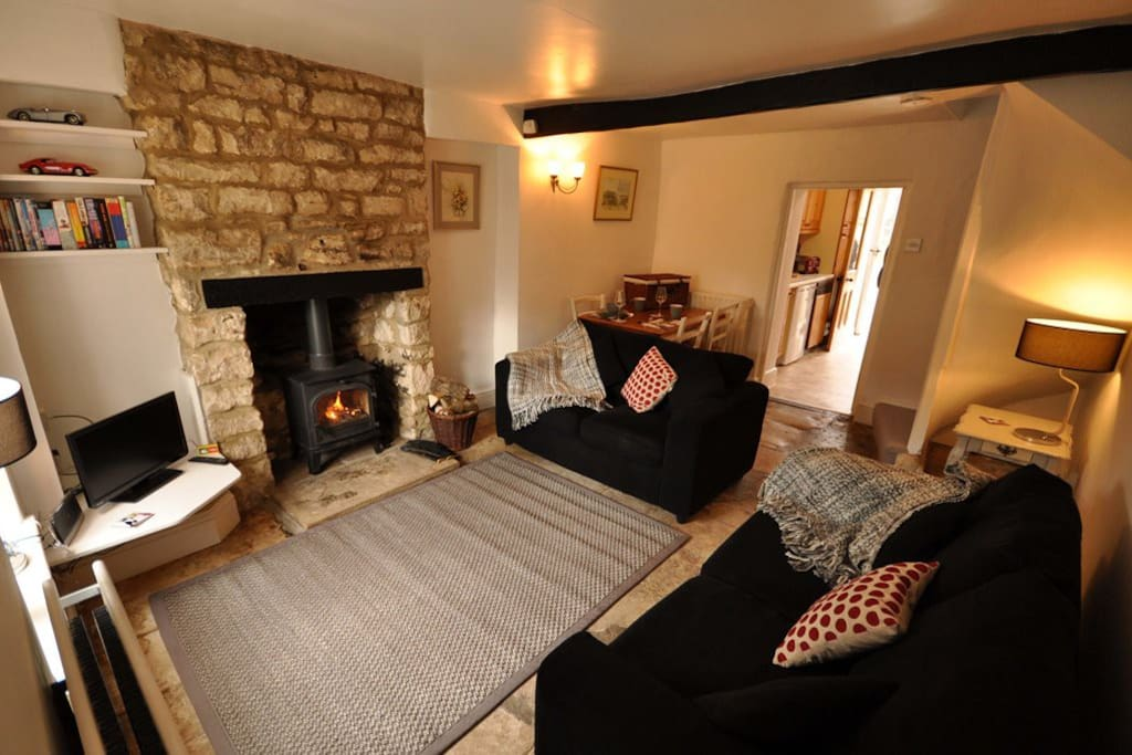 The cosy living room with Log burner