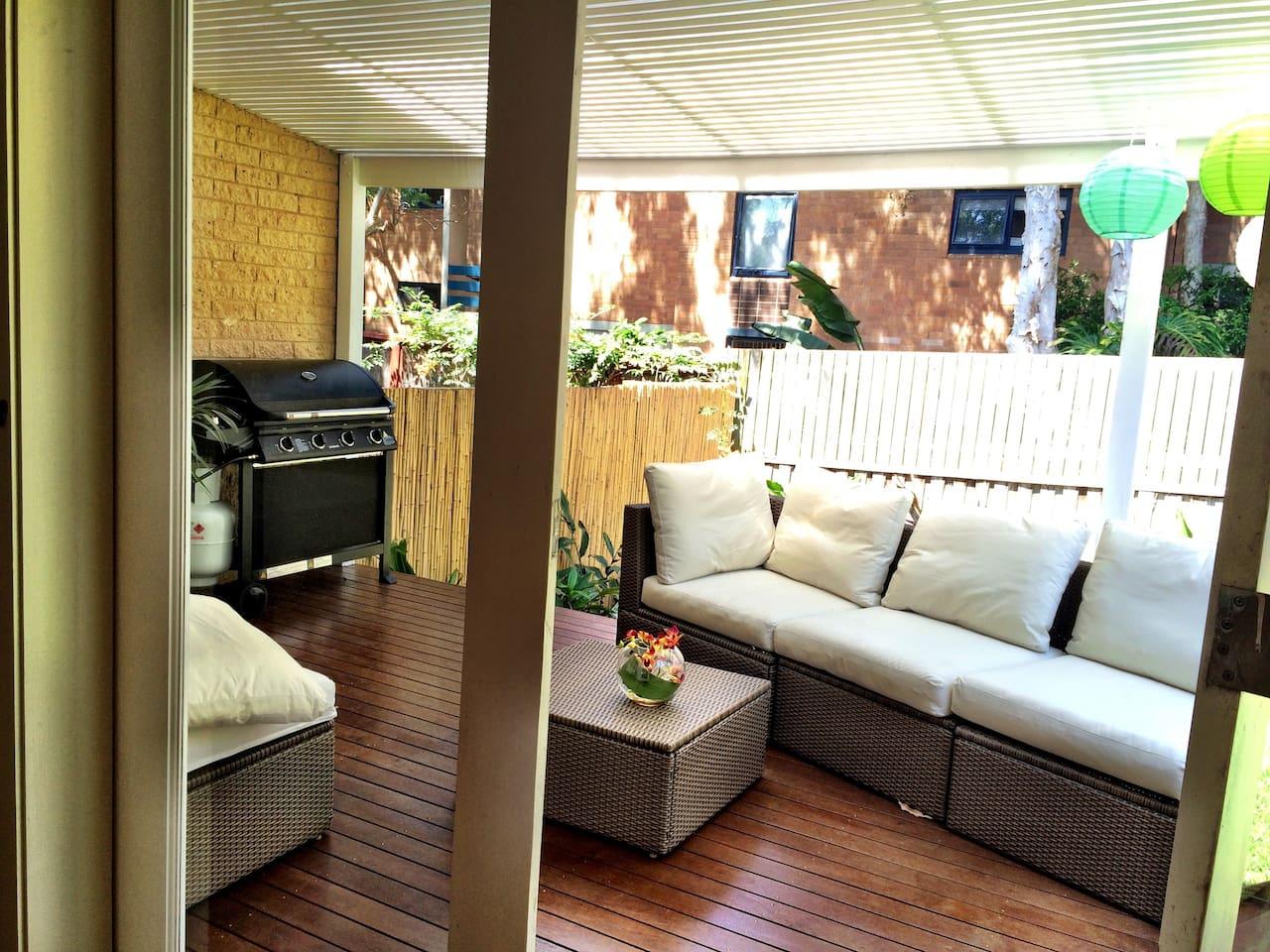 Garden deck with BBQ