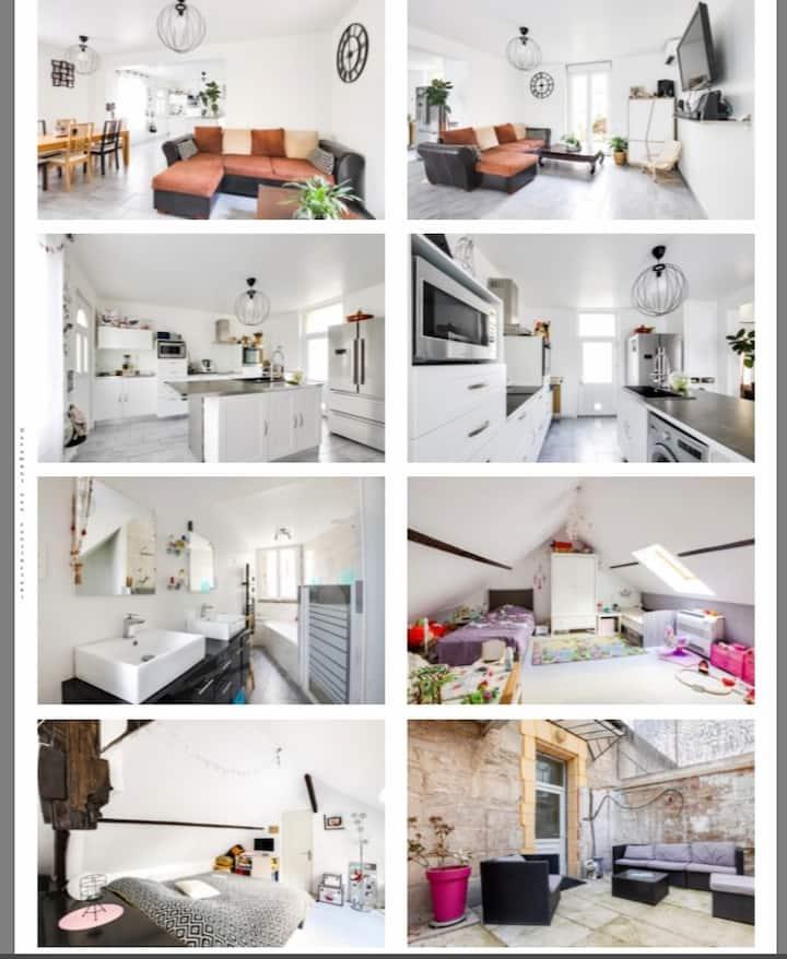 Jolie maison climatisée 5 KMS de Soissons, 1H CDG
