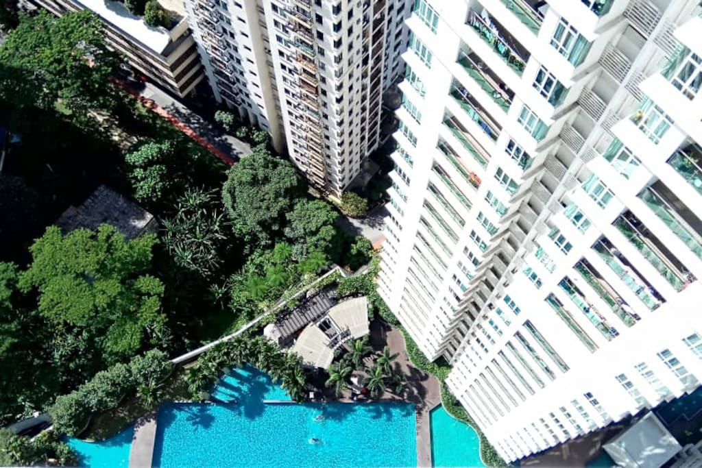 The swimming pool view from the balcony
