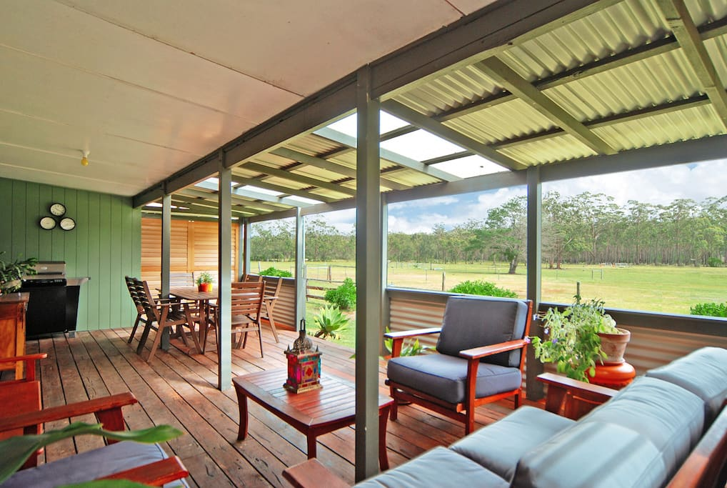 Spacious deck overlooking the property