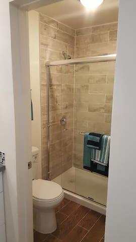 Custom Tiled Floors and Shower.