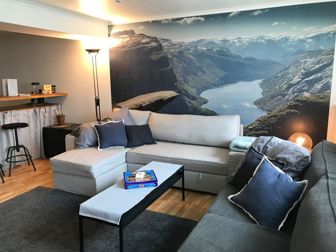 Foto wallpaper of trolltunga in the livingroom.