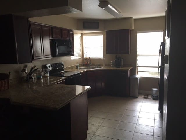 Nice sized kitchen. You have access to everything including coffee in the morning.